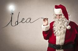 Santa Claus writing the word idea
