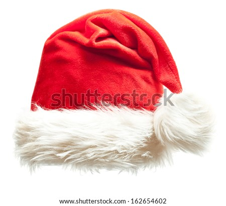Santa Claus xmas red hat isolated on white background