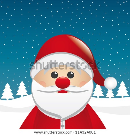 santa clause figure look winter night landscape - stock photo