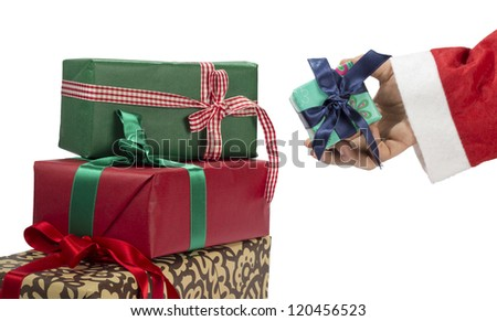 Santa Clause giving a Christmas presents on a white background