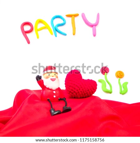 Santa Clause sitting with red heart on the red floor waiting for Christmas Party, happiness concept #1175158756
