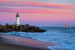 Santa Cruz Breakwater Lighthouse in Santa Cruz, California at sunset