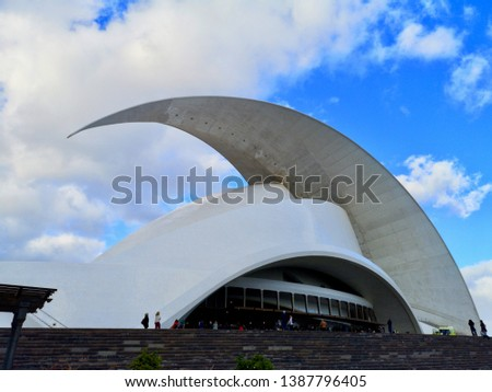 Santa Cruz de Tenerife, Spain-April 5, 2019 : Tenerife Auditorium - the beautifully designed concert hall in Santa Cruz  #1387796405