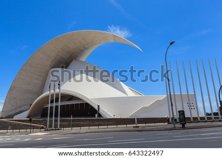Santa Cruz de Tenerife, Spain - May 03, 2012: Auditorio de Tenerife - futuristic and inspired in organic shapes, building designed by Santiago Calatrava #643322497