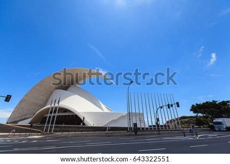 Santa Cruz de Tenerife, Spain - May 03, 2012: Auditorio de Tenerife - futuristic and inspired in organic shapes, building designed by Santiago Calatrava #643322551