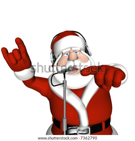 Santa DJ wearing headphones and standing in front of a microphone. Isolated on a white background.