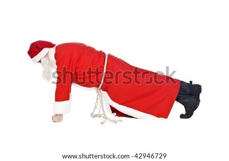 Santa doing push-ups #42946729