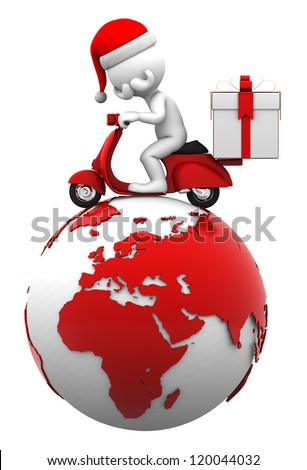 Santa driving scooter on top of the earth. Present delivery concept. Isolated on white