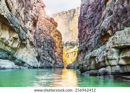 Santa Elena Canyon and Rio Grande river at Big Bend National Park