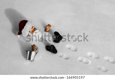 Santa Fall. As Santa was going out to feed the reindeer he stepped back and fell into a powder snow bank.