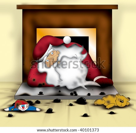 Santa Falls Down The Chimney Illustration