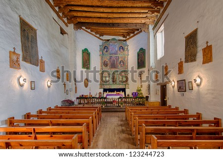 SANTA FE, NEW MEXICO - DECEMBER 5: The oldest church in the United States, San Miguel Chapel, in Santa Fe, New Mexico on December 5, 2012