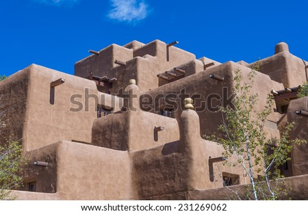 SANTA FE , NEW MEXICO - OCT 10 : Traditional Adobe architecture in Santa Fe New Mexico on October 10 2014 , Adobe architecture is very common in the US southwest.