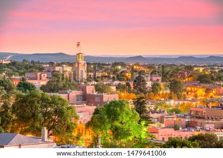 Santa Fe, New Mexico, USA downtown skyline at dusk.