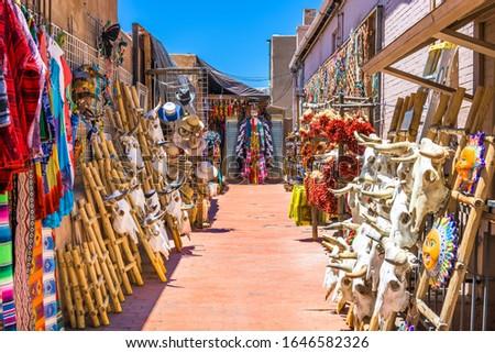 Santa Fe, New Mexico, USA market selling traditional southwestern goods.