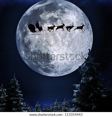Santa flying in his sleigh against a full moon background with stars and Christmas tree's.Moon texture courtesy of www.nasa.gov