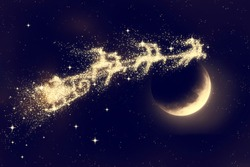 Santa flying on night sky over moon light. Marry Christmas and happy holiday. Elements of this image furnished by NASA