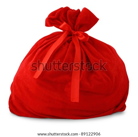 Santa gift bag Isolated on white background