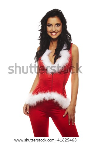 santa girl portrait smiling - isolated over a white background