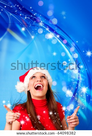 Santa girl with blue background and many flying stars