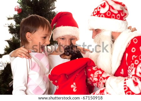 Santa gives presents to boys on a white background