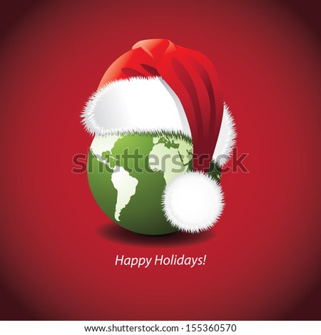 Santa Hat and globe Christmas New Year's Card design. Portions of this image supplied by NASA. jpg