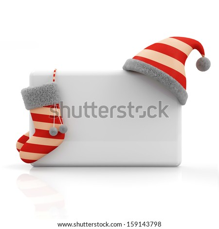 Santa Hat and Sock on Blank Board isolated on white background