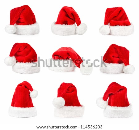 Santa hat isolated in white background  collection - stock photo