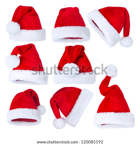 Santa Hat isolated on white Background. Christmas Collage