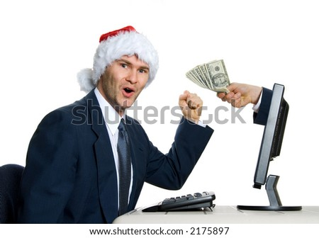 santa hat man winning the lottery on internet