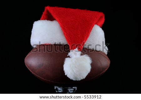 Santa hat on American Football