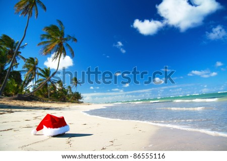 Santa hat on caribbean beach, Dominican Republic