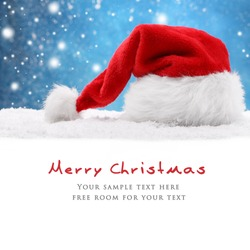 Santa hat on snow,Christmas decoration.