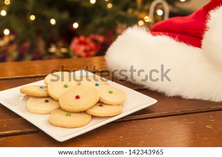 Santa hat with a plate of shortbread cookies