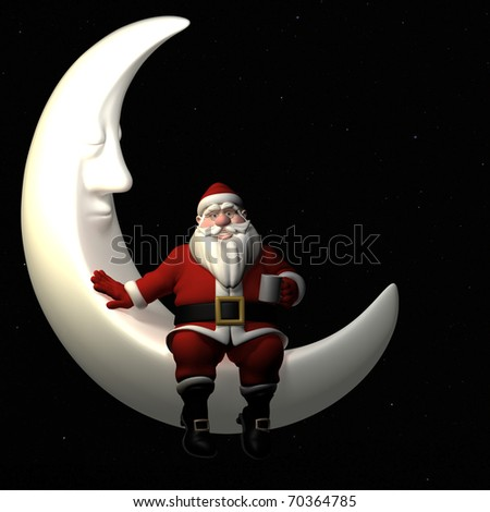 Santa Having a Cup of Cocoa and Relaxing On the Crescent Moon in the Night Sky.