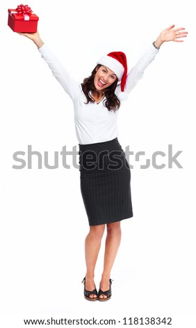 Santa helper christmas girl with  gift isolated on white background.