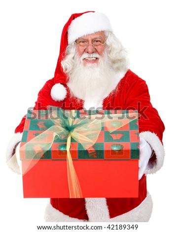Santa holding a gift isolated over a white background