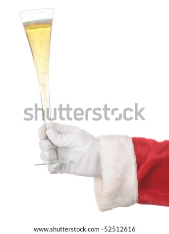 Santa Holding Champagne Flute isolated over white. Hand and arm only in vertical format.