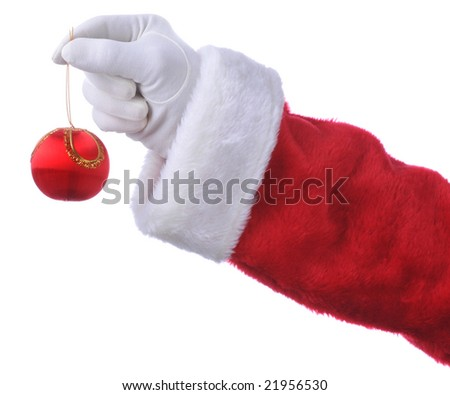 Santa Holding Christmas Ornament isolated over white - hand and arm only