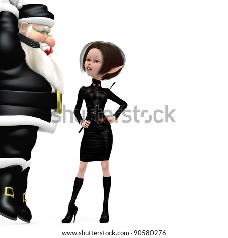 Santa In Black - Bondage.  A hanging Santa wearing a black latex suit and red gag being, disciplined by a dominatrix elf girl.  Isolated. Bah Humbug