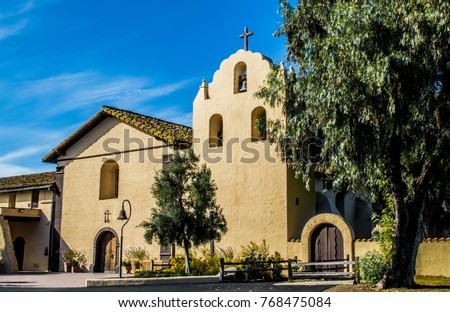 Santa Ines Mission in the early morning sunlight