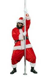 Santa is pole dancer. Lustful arabic young Santa Claus with black beard dances with pole on white background