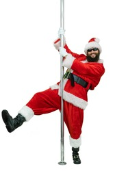 Santa is pole dancer. Lustful   young Santa Claus with black beard dances with pole on white background