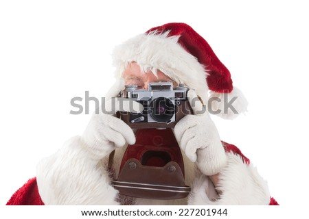 Santa is taking a picture on white background