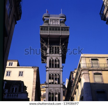 Santa Justa Elevator in Lisbon, Portugal. Connecting downtown to Bairro Alto  Made by the French architect Raoul de Mesnier du Ponsard an apprentice of Gustave Eiffel