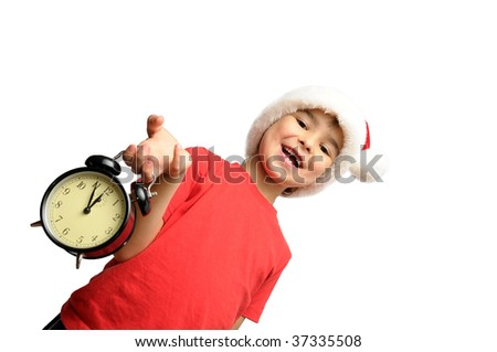 Santa kid holding an alarm clock