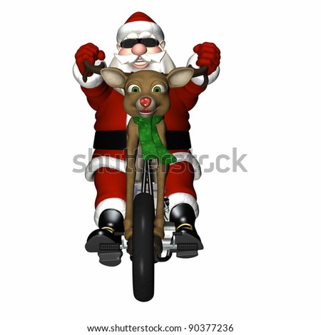 Santa looking cool with a bit of an attitude on his reindeer concept chopper.  Antler handlebars, red nose headlight, and engine made of chrome and presents.