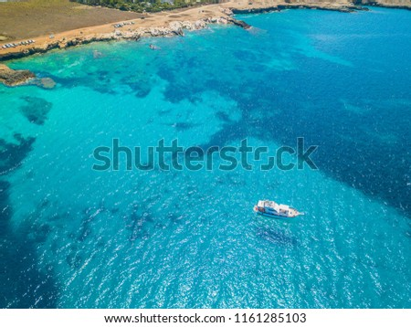 Santa Margherita,Bue Marino and Macari beach with Monte Cofano mount in the background, San Vito Lo Capo, Trapani, Sicily, Italy