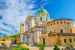 Santa Maria Assunta Cathedral, Duomo Nuovo and Duomo Vecchio La Rotonda, New and Old Cathedral Roman Catholic church, Piazza Paolo VI Square, Brescia city historical centre, Lombardy, Northern Italy