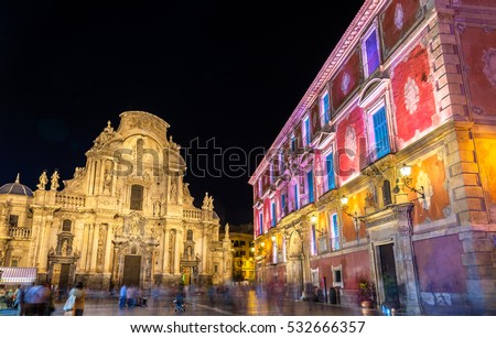 Santa Maria Cathedral and Episcopal Palace on Cardenal Belluga Square in Murcia, Spain